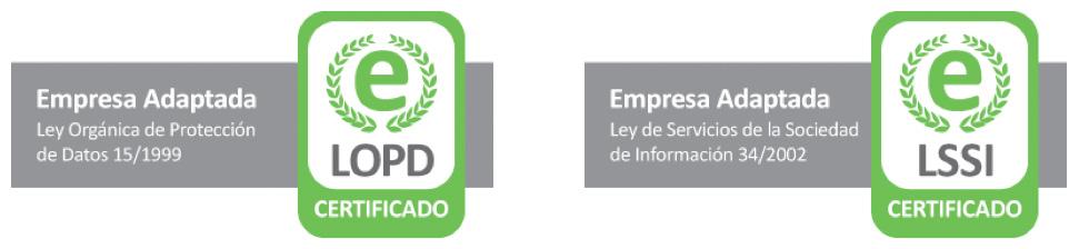 Empresa certificada por su calidad, confidencialidad y seguridad (LOPD - LSSI-CE).